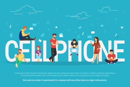 Illustration pour Cellphone concept illustration of young people using smartphones for social networking and websites usage. Flat design of guys and young women standing near big letters with social media symbols - image libre de droit