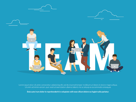 Illustration pour Project teamwork concept illustration of business people working together as team. Manager, designer, programmer and other colleagues using laptops. Flat design for for website banner and landing page - image libre de droit