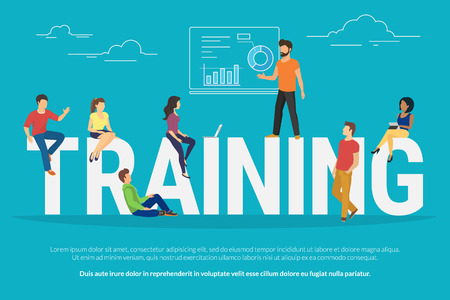 Illustration for Training concept illustration of young people attending the professional training with skilled instructor. Flat design of guys and young women sitting on the big letters - Royalty Free Image
