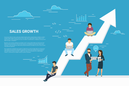 Ilustración de Business growth concept illustration of business people working together as team and sitting on the big arrow. Flat people working with laptops to develop business. Blue background with copy space - Imagen libre de derechos