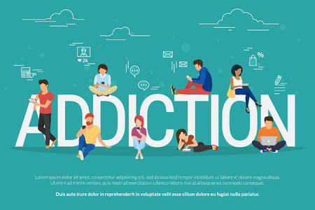 Ilustración de Addiction concept illustration of young people using devices such as laptop, smartphone, tablets. Flat design of people addicted to gadgets sitting on the bid letters with social media symbols - Imagen libre de derechos