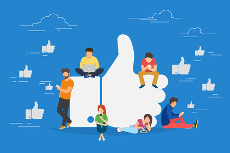 Illustration for I like it concept illustration of young people using mobile gadgets such as laptop, tablet pc and smartphone for social networking and blogging. Flat design of guys and women near big symbol - Royalty Free Image