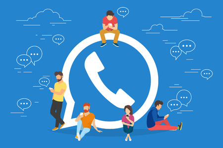 Illustration pour Symbol of mobile messenger concept illustration of young people using mobile gadgets such as tablet pc and smartphone for texting and calling via internet. Flat design of guys and women near symbol - image libre de droit