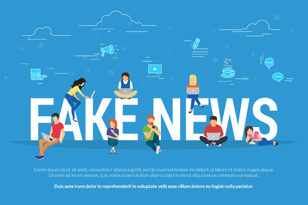 Illustration pour Fake news and and information fabrication concept flat vector illustration of young people using laptop, tablets and smart phones for reading fake posts in social networks and breaking news website - image libre de droit