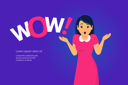 Wow emotion concept vector illustration of amazed young woman with open mouth making hands gesture standing near letters on purple. Woman wow effect expression design banner for social media and promo
