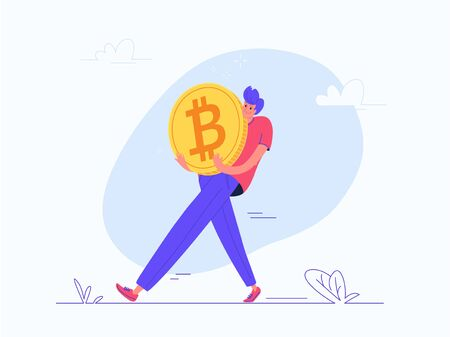 Illustration for Young man carrying heavy golden symbol of bitcoin - Royalty Free Image