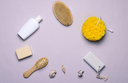 Bath Items Concept, Sponge, Shampoo or Shower Gel, Hair Brush, Pumice Stone, Top View, Flat Lay