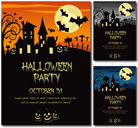 Halloween party invitation poster or card illustration design, text outline, no drop shadow on the .eps