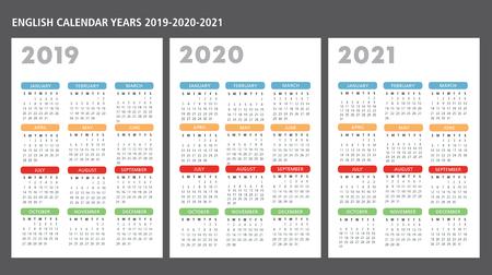 Ilustración de English calendar 2019-2020-2021 vector template text is outline - Imagen libre de derechos