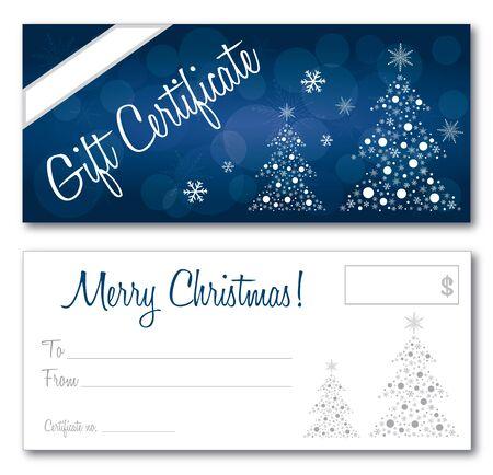 Illustration pour blue gift certificate christmas design vector front and back font outline no drop shadow on the vector - image libre de droit