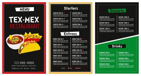 Illustration pour Mexican Restaurant menu layout modern design template with spicy level symbols main font is futura vector - image libre de droit