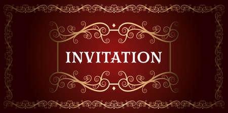 Illustration pour invitation royal luxury red and gold vintage ornamental  frame vector - image libre de droit