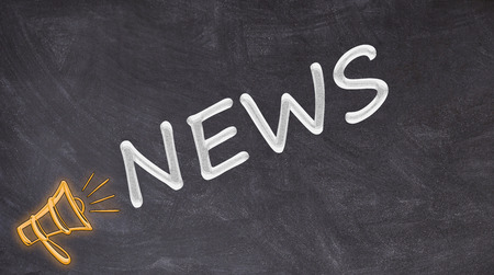 Photo pour News written on blackboard yelled by megaphone - image libre de droit