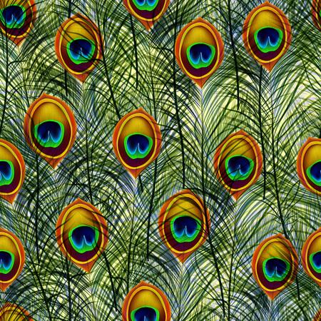 Ilustración de Seamless texture pattern with peacock feathers. - Imagen libre de derechos