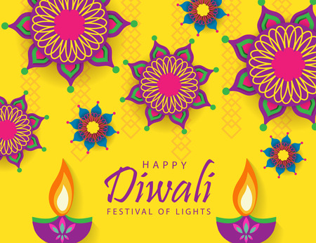 Illustration pour Happy Diwali Festival of Lights - image libre de droit