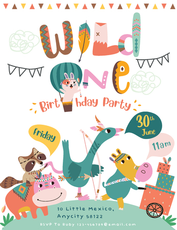 Foto per Happy birthday party invitation card with cartoon tribal animals. - Immagine Royalty Free