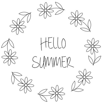 Illustration for Floral wreath with chamomile or daisy flowers. Hello summer card in vector on white background - Royalty Free Image
