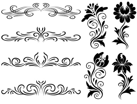 Horizontal elements decoration vector, floral graphic design elements vector. Basic elements are grouped.