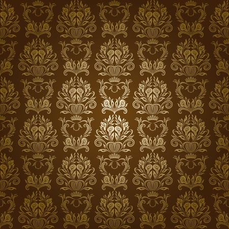 Damask seamless floral pattern  Flowers on a brown background  EPS 10