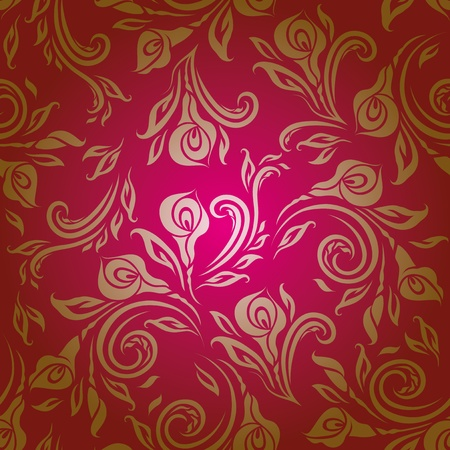 Seamless floral pattern  Beige flowers on a red background  EPS10