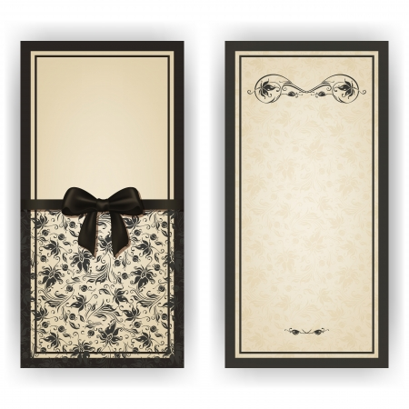 Illustration for Elegant template luxury invitation, card with lace ornament, bow, place for text. Floral elements, ornate background.  - Royalty Free Image