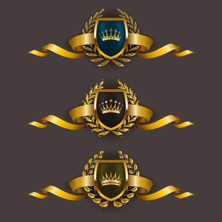 Set of luxury golden vector shields with laurel wreaths, crowns, ribbons. Royal heraldic emblem, icons, label, badge, blazon for web, page design. Vector illustration EPS 10.