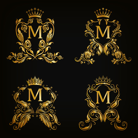 Set of gold monogram for graphic design on black background. Royal graceful frame, filigree border, crown, floral element in vintage style for wedding invitation, card, logo. Vector illustration EPS10のイラスト素材