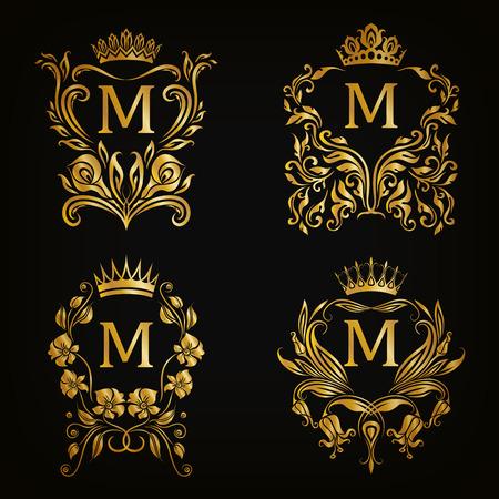 58b92d200ea Set of gold monogram for graphic design on black background. Royal graceful  frame