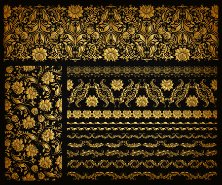 Illustration pour Set of horizontal golden lace pattern, decorative elements, borders for design. Seamless hand-drawn floral ornament on black background. Page, web site decoration. Vector illustration EPS 10. - image libre de droit