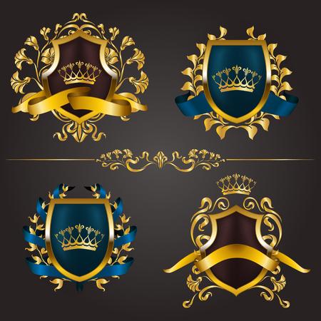 Illustration pour Set of golden royal shields for graphic design on background. - image libre de droit