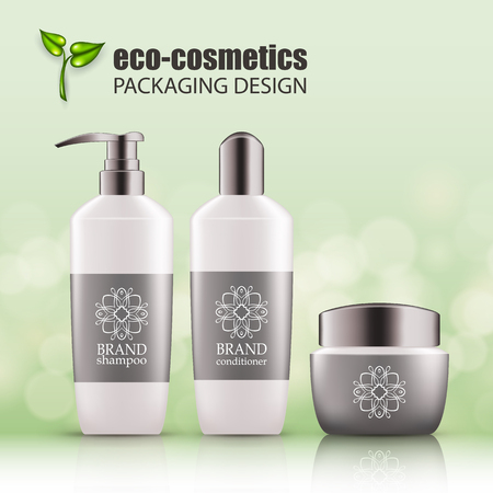 Illustration pour Set of realistic white glass bottles, silver cap for eco-cosmetic with line logo. Empty package for haircare cosmetic - shampoo, conditioner, hair mask. Blank template, vector mockup for ads, magazine - image libre de droit