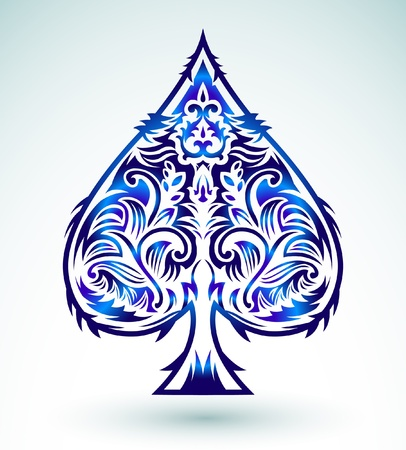 Tribal style design - spade ace poker playing cards, vector illustration