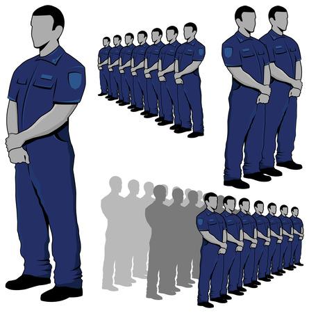 Police - security guard vector set