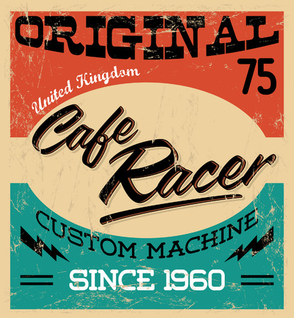 Illustration pour cafe racer - vintage motorcycle design - vector lettering - shirt print - Grunge texture can be easily removed - image libre de droit