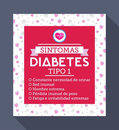 Illustration pour Sintomas Diabetes tipo 1, Spanish translation: Symptoms of type 1 diabetes, Informative text of the symptoms of diabetes - image libre de droit