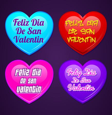 Set Of Hearts Feliz San Valentin Happy Valentines Day In Spanish