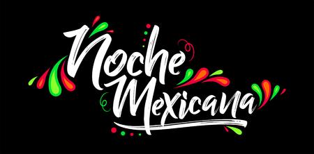 Illustration pour Noche mexicana, Mexican night spanish text, banner vector celebration - image libre de droit