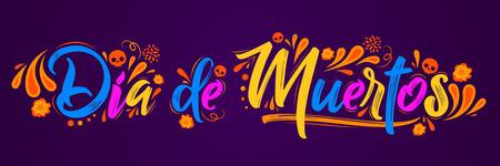 Illustration pour Dia de Muertos, day of Dead spanish text lettering vector illustration - image libre de droit