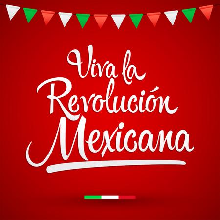 Illustration pour Viva la Revolucion Mexicana, Long live Mexican Revolution Spanish text, Traditional mexican Holiday - image libre de droit