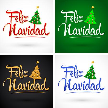 Merry Christmas In Spanish.Feliz Navidad Merry Christmas Spanish Text Vector