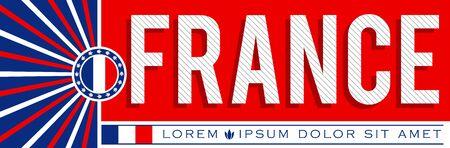 Illustration pour France Patriotic Banner design, typographic vector illustration, French Flag colors - image libre de droit