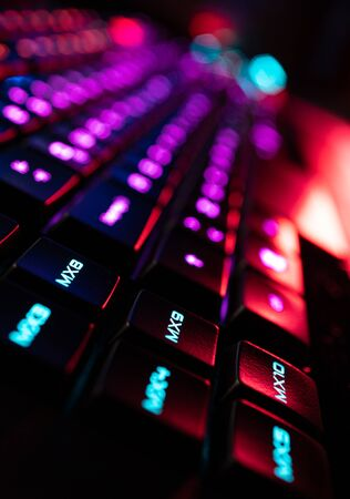 Photo pour Gamer Keyboard Macro Programmable Keys colorful RGB lights - image libre de droit