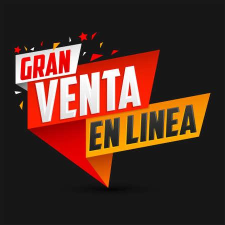 Illustration pour Gran Venta en Linea, Great Online Sale Spanish text, vector design. - image libre de droit
