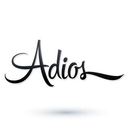 Illustration pour Adios, Good Bye spanish text, farewell vector lettering. - image libre de droit