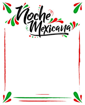 Illustration for Noche Mexicana, Mexican Night spanish text, vector celebration template. - Royalty Free Image
