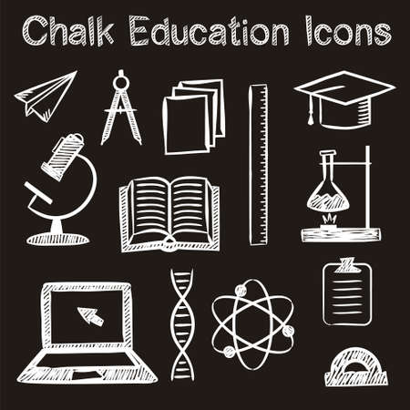 Illustration pour Set of hand-drawn icons on the theme of education in chalk style. White strokes on a black background. Vector illustration for a library, school, university, college, educational application or site. - image libre de droit