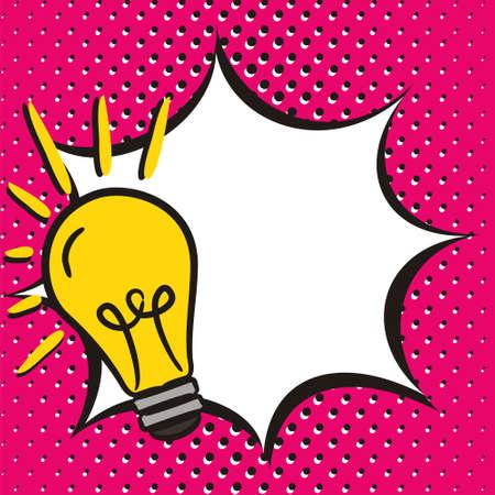 Ilustración de Bright comic empty speech bubble in popart style. White box for text in the form of an explosion with lightbulb. Square web banner for social media post template. Vector illustration, vintage design. - Imagen libre de derechos