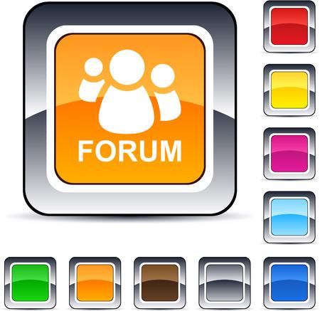 Illustration pour Forum glossy square web buttons.  - image libre de droit
