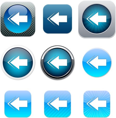 Back arrow Set of apps icons. Vector illustration.
