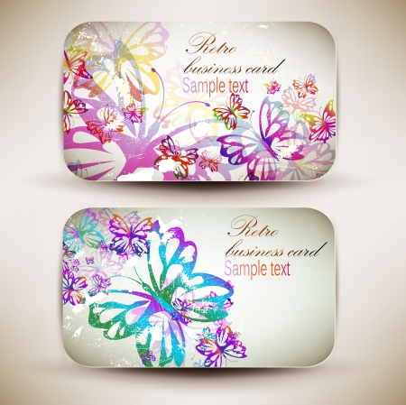 Vintage Business-Card Set with butterfly  Designed in the same style